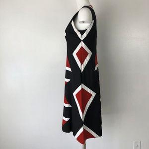 Dkny Dresses - DKNY | Geometric Print Fit & Flare Dress Black